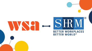WSA and SHRM logos with a blue linking bar between them to signify their partnership
