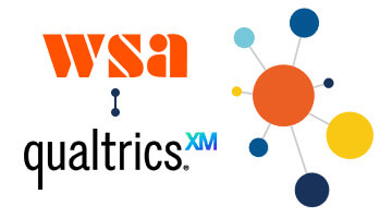 WSA and Qualtrics logos with a blue linking bar between them to signify their partnership